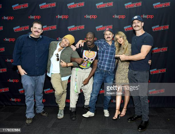 Kevin Heffernan Eugene Cordero Marcus Henderson Steve Lemme Hassie Harrison Gabriel Hogan pose at the Tacoma FD press line during New York Comic Con...