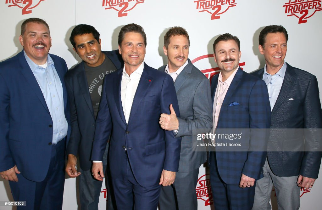 Kevin Heffernan, Jay Chandrasekhar, Rob Lowe, Paul Soter, Steve Lemme and Erik Stolhanske attend the premiere of Fox Searchlight Pictures' 'Super Troopers 2' on April 11, 2018 in Los Angeles, California.
