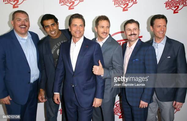 Kevin Heffernan Jay Chandrasekhar Rob Lowe Paul Soter Steve Lemme and Erik Stolhanske attend the premiere of Fox Searchlight Pictures' 'Super...