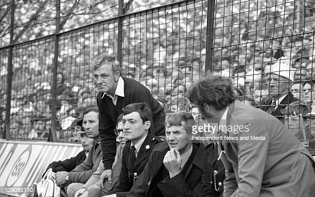 Kevin Heffernan the Dublin Manager and on his right Lorcan Redmond a selector during the 1974 All-Ireland Football Final agaisnst Galway at Croke...