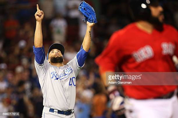 Kevin Herrera of the Kansas City Royals celebrates after making the last out of the game against the Boston Red Sox on August 26 2016 at Fenway Park...