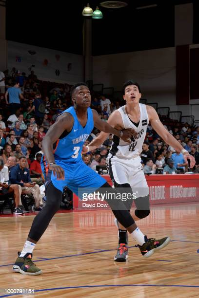 Kevin Hervey of the Oklahoma City Thunder boxes out against Yuta Watanabe of the Brooklyn Nets during the 2018 Las Vegas Summer League on July 7 2018...