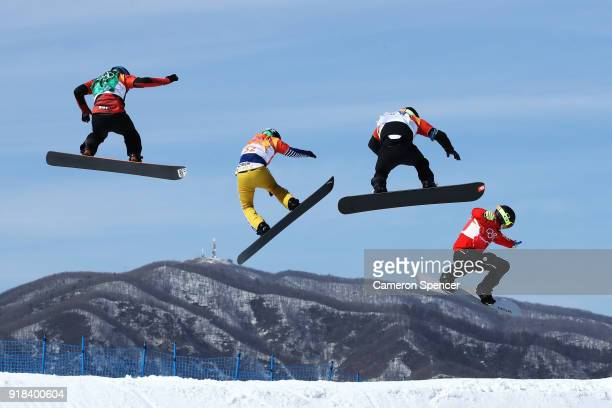 Kevin Hill of Canada Kalle Koblet of Switzerland Konstantin Schad of Germany and Jan Kubicik of the Czech Republic compete during the Men's Snowboard...