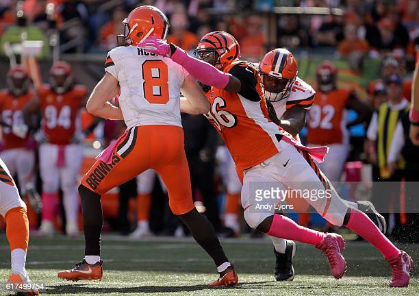Kevin Hogan of the Cleveland Browns is sacked by Carlos Dunlap of the Cincinnati Bengals during the third quarter at Paul Brown Stadium on October...