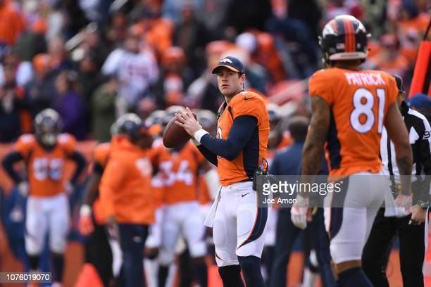 Kevin Hogan of the Denver Broncos warms up during the first quarter against the Los Angeles Chargers. The Denver Broncos hosted the Los Angeles...
