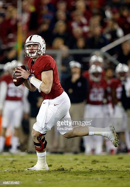 Kevin Hogan of the Stanford Cardinal looks to pass against the California Golden Bears at Stanford Stadium on November 21, 2015 in Palo Alto,...