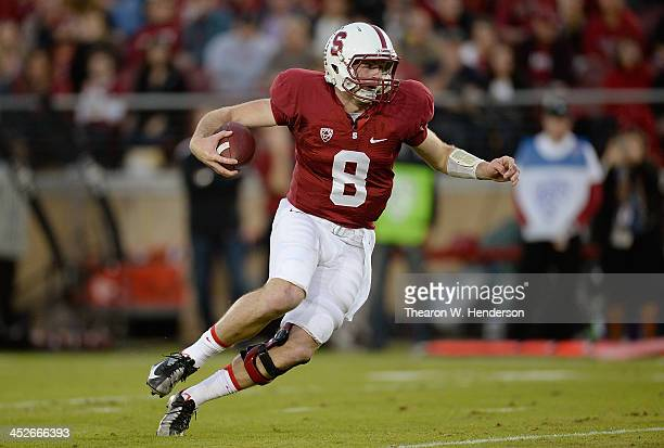 Kevin Hogan of the Stanford Cardinal runs with the ball a yard away from the endzone against the Notre Dame Fighting Irish during the second quarter...