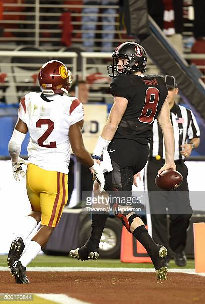Kevin Hogan of the Stanford Cardinal scores a touchdown in front of Adoree' Jackson of the USC Trojans during the second quarter of the NCAA Pac-12...