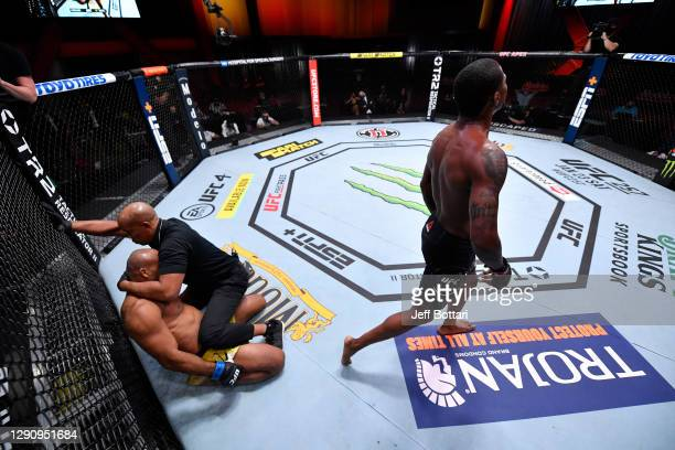 Kevin Holland celebrates his victory over Jacare Souza of Brazil in their middleweight bout during the UFC 256 event at UFC APEX on December 12, 2020...