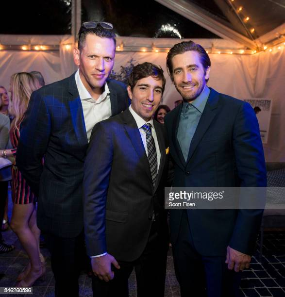Kevin Horst from left Boston Marathon bombing survivor Jeff Bauman and actor Jake Gyllenhaal at the after party following the Boston Premiere of...