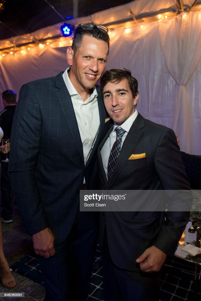 Kevin Horst, left, and Boston Marathon bombing survivor Jeff Bauman at the after party following the Boston Premiere of STRONGER at Spaulding Rehab Center on September 12, 2017 in Charlestown, Massachusetts.