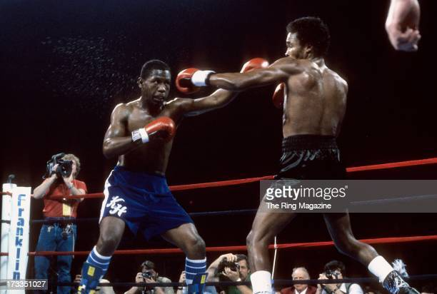 Kevin Howard throws a punch against Sugar Ray Leonard during the fight at the DCU Center in Worcester Massachusetts Sugar Ray Leonard won by a TKO 9