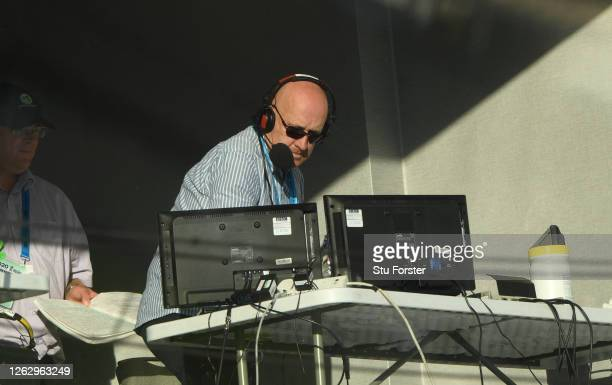 Kevin Howells of the BBC in the Test Match Special Radio booth during the First One Day International between England and Ireland in the Royal London...