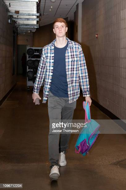 Kevin Huerter of the Atlanta Hawks arrives before the game against the Charlotte Hornets on February 9 2019 at State Farm Arena in Atlanta Georgia...