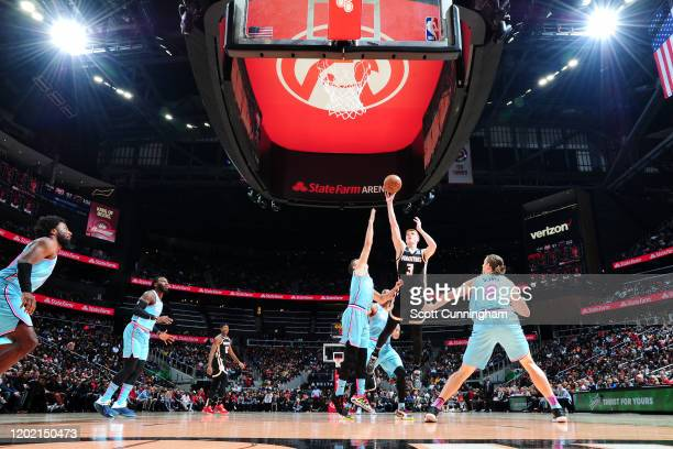 Kevin Huerter of the Atlanta Hawks shoots the ball against the Miami Heat on February 20, 2020 at State Farm Arena in Atlanta, Georgia. NOTE TO USER:...