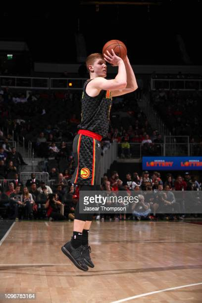 Kevin Huerter of the Atlanta Hawks shoots the ball against the Charlotte Hornets on February 9 2019 at State Farm Arena in Atlanta Georgia NOTE TO...