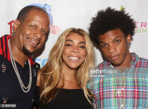 Kevin Hunter wife Wendy Williams and son Kevin Hunter Jr pose at a celebration for The Hunter Foundation Charity that helps fund programs for...
