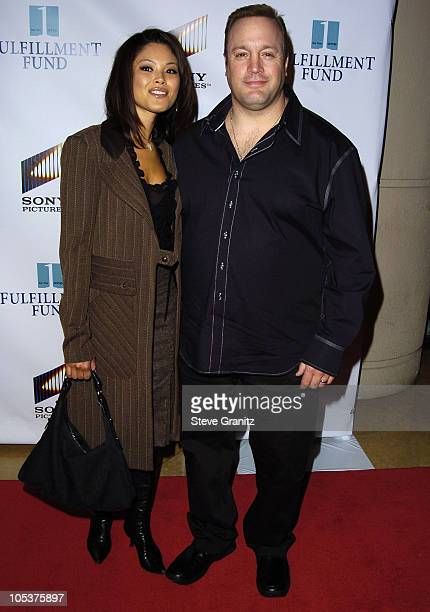 Kevin James and wife Steffiana De La Cruz during Fulfillment Fund to Honor Sony's Amy Pascal at 2004 Benefit Gala at Beverly Hilton Hotel in Beverly...