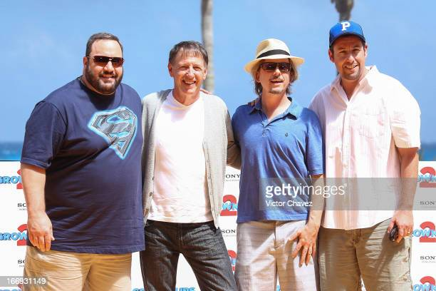 """Kevin James, director Dennis Dugan and actors David Spade and Adam Sandler attend the """"Grown Ups 2"""" photocall at The 5th Annual Summer Of Sony on..."""