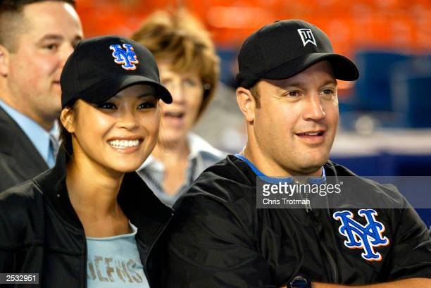 Kevin James of 'The King of Queens' with his girllfriend before throwing out the first pitch as the New York Mets played the Pittsburgh Pirates at...
