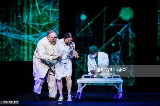 Kevin James performs and illusion on stage during a media call for The Illusionists Direct From Broadway at Sydney Opera House on December 19 2018 in...