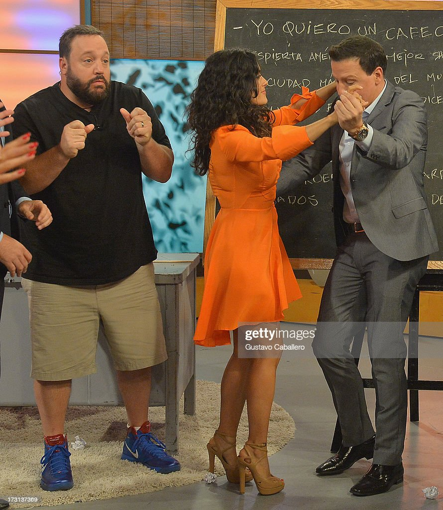 Kevin James, Salma Hayek and Raul Gonzalez of 'Grown Ups 2' cast appears on Univisions 'Despierta America' to promote the movie>> at Univision Headquarters on July 8, 2013 in Miami, Florida.