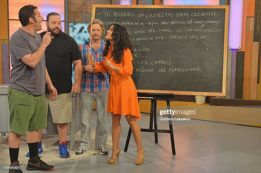 Kevin James,David Spade,Salma Hayek and Adam Sandler of 'Grown Ups 2' cast appears on Univisions 'Despierta America' to promote the movie at Univision Headquarters on July 8, 2013 in Miami, Florida.