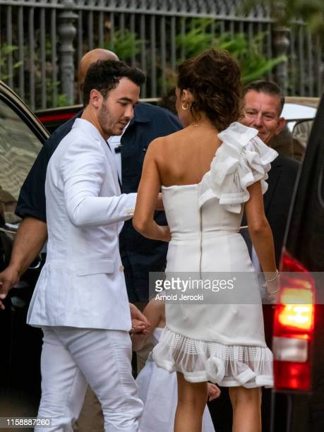 Kevin Janas and Danielle Jonas arrives at the Hotel de la Mirande for a white dinner before the wedding of Sophie Turner and Joe Jonas on June 28...