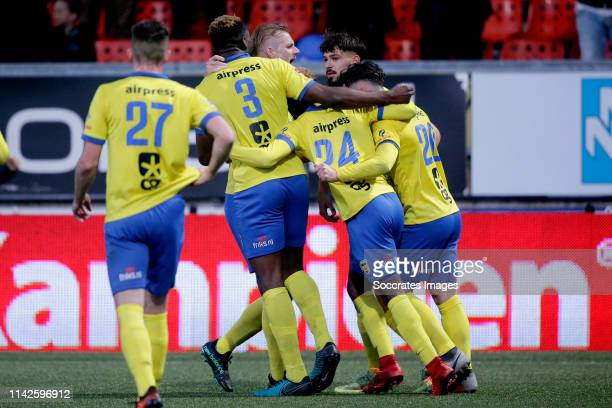 Kevin Jansen of SC Cambuur Emmanuel Mbende of SC Cambuur David Sambissa of SC Cambuur Andrejs Ciganiks of SC Cambuur celebrate 11 during the Dutch...