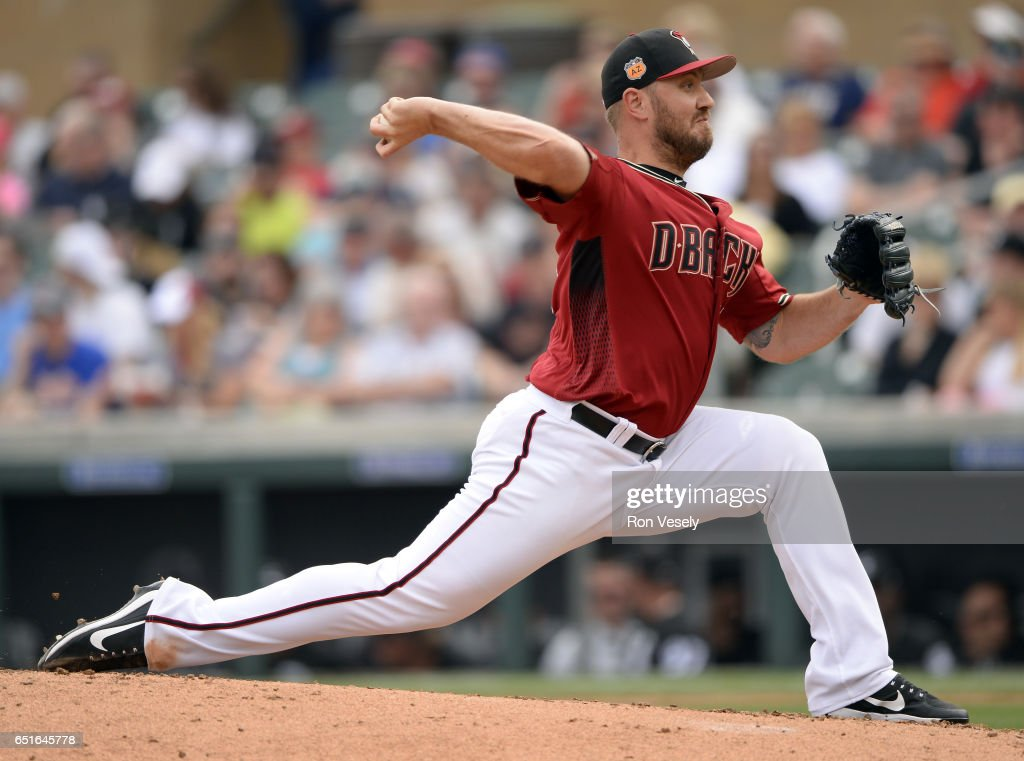 Kevin Jepsen #45 of the Arizona Diamondbacks pitches during the spring training game against the Chicago White Sox on March 5, 2017 at Salt River Fields at Talking Stick in Scottsdale, Arizona.