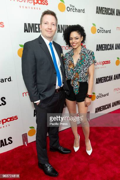 Kevin Johnson and Britne Oldford attend American Animals premiere at Regal Union Square