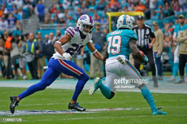 Kevin Johnson of the Buffalo Bills defends against Jakeem Grant of the Miami Dolphins during an NFL game on November 17, 2019 at Hard Rock Stadium in...