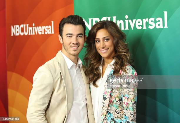 Kevin Jonas and Danielle Jonas arrive at the 2012 TCA Summer press tour NBC Photo Call Day 2 held at The Beverly Hilton Hotel on July 25 2012 in...
