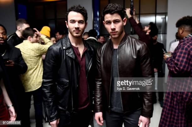 Kevin Jonas and Joe Jonas attend Republic Records Celebrates the GRAMMY Awards in Partnership with Cadillac Ciroc and Barclays Center at Cadillac...