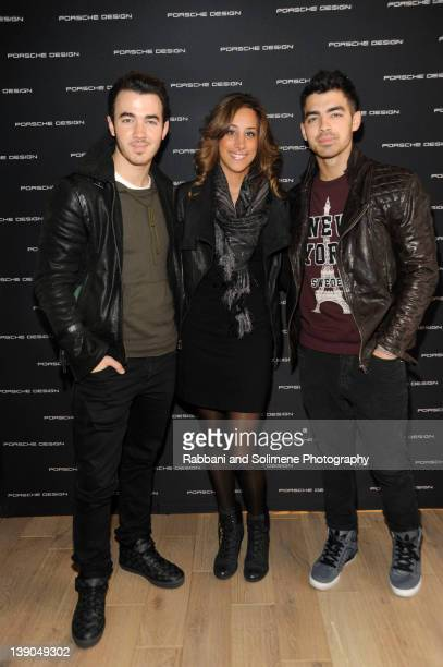 Kevin Jonas Danielle Deleasa and Joe Jonas attend Porsche Design SoHo Store Launch and Preview Of Fall/Winter 2012 Collection on February 15 2012 in...