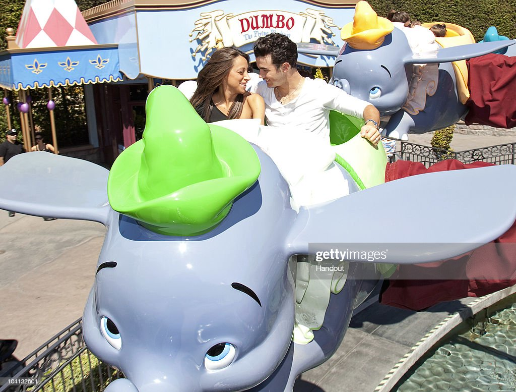 Kevin Jonas, eldest of the musical Jonas Brothers, took his wife Danielle for a ride on Dumbo the Flying Elephant at Disneyland on September 15, 2010 in Anaheim, California. Jonas, on a break from touring, planned the Disneyland Resort visit as a surprise for Danielle.