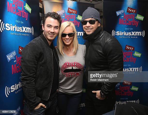 Kevin Jonas, Jenny McCarthy and Donnie Walberg visit 'Dirty, Sexy, Funny With Jenny McCarthy' at SiriusXM Studios on November 4, 2014 in New York...