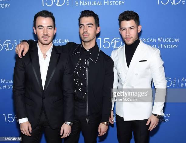 Kevin Jonas, Joe Jonas and Nick Jonas attend the American Museum Of Natural History 2019 Gala at the American Museum of Natural History on November...