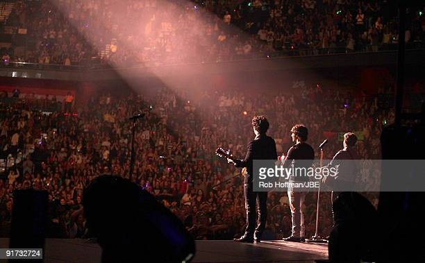 Kevin Jonas Joe Jonas and Nick Jonas of the Jonas Brothers perform at Mohegan Sun Arena on October 10 2009 in Uncasville Connecticut