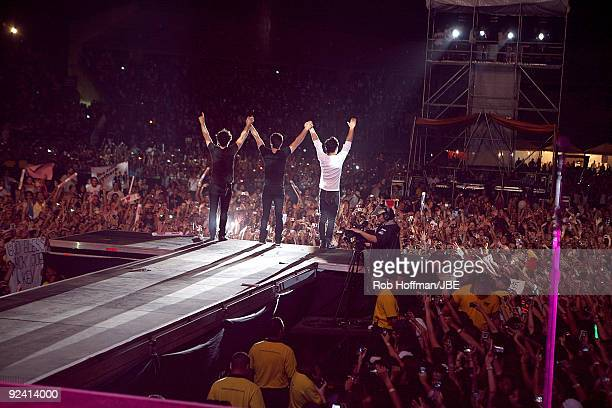 Kevin Jonas Joe Jonas and Nick Jonas of the Jonas Brothers perform at La Rinconada on October 27 2009 in Caracas Venezuela