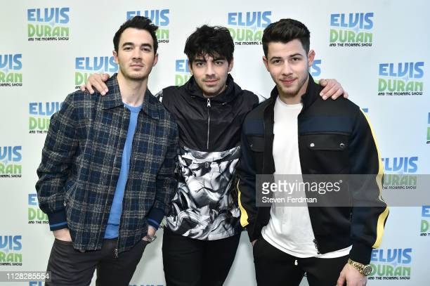 Kevin Jonas Joe Jonas and Nick Jonas of The Jonas Brothers visit The Elvis Duran Z100 Morning Show at Z100 Studio on March 1 2019 in New York City