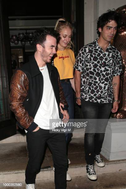 Kevin Jonas Joe Jonas and Sophie Turner seen on a night out at 34 restaurant in Mayfair on July 16 2018 in London England