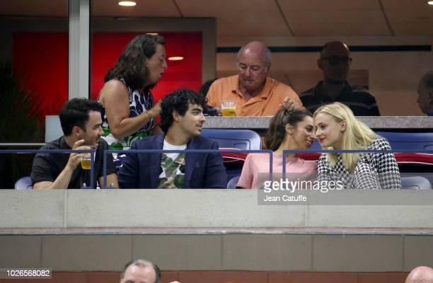Kevin Jonas Joe Jonas Danielle Jonas and Sophie Turner attend Sharapova and Federer matches on day 8 of the 2018 tennis US Open on Arthur Ashe...
