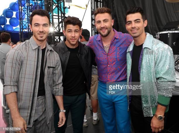 Kevin Jonas Joe Jonas Jordan McGraw and Nick Jonas behind the scenes at TEEN CHOICE 2019 airing Sunday August 11 on FOX from Hermosa Beach CA