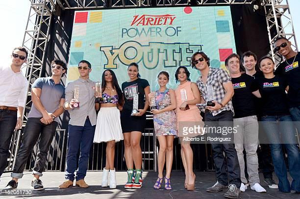 Kevin Jonas Joe Jonas Nick Jonas Kat Graham Jordin Sparks Sarah Hyland Vanessa Hudgens Diego Boneta and friends attend Variety's Power of Youth...