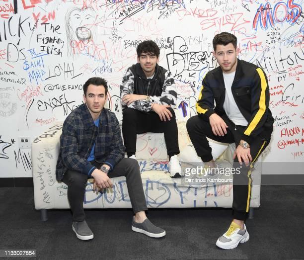 Kevin Jonas Joe Jonas Nick Jonas of The Jonas Brothers Visit Music Choice on March 01 2019 in New York City