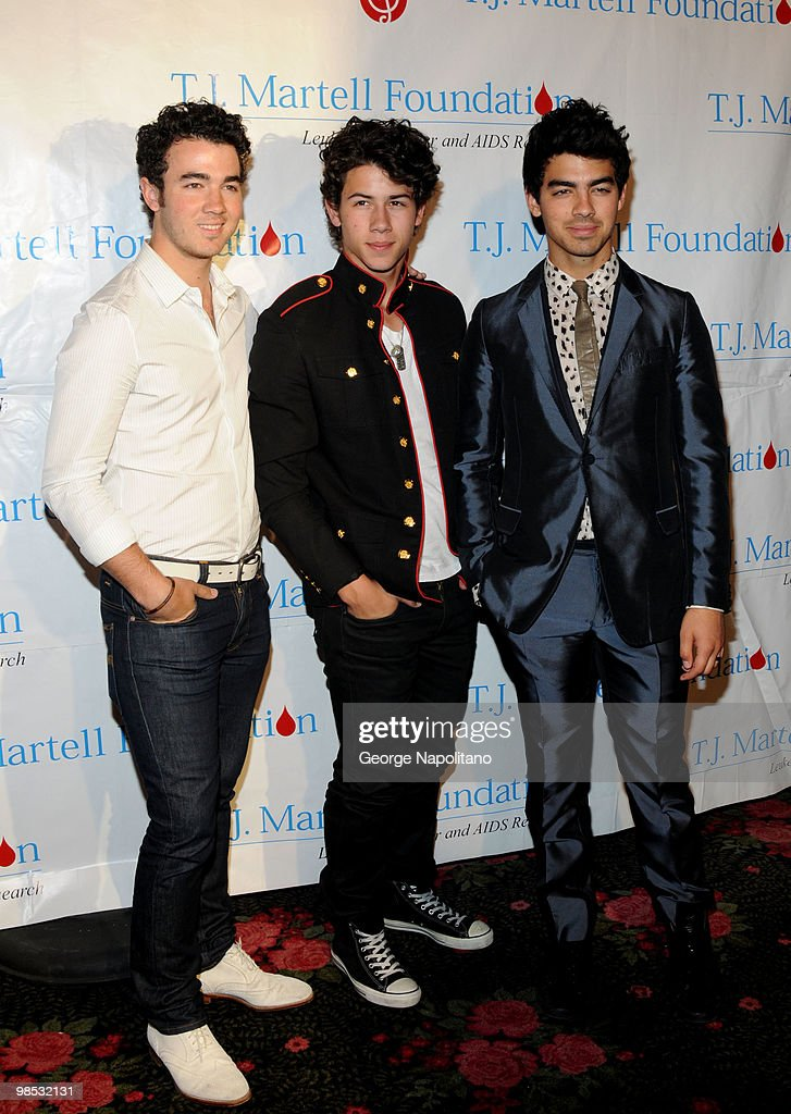 Kevin Jonas, Nick Jonas and Joe Jonas attend the 11th Annual T.J. Martell Foundation Family Day benefit on April 18, 2010 in New York City.