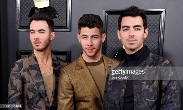 Kevin Jonas Nick Jonas and Joe Jonas of Jonas Brothers attend the 62nd Annual GRAMMY Awards at Staples Center on January 26 2020 in Los Angeles...