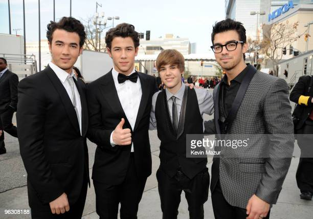 Kevin Jonas Nick Jonas Justin Bieber and Joe Jonas attends the 52nd Annual GRAMMY Awards held at Staples Center on January 31 2010 in Los Angeles...