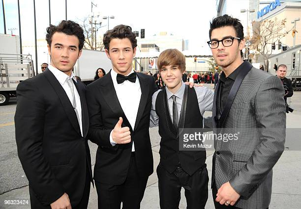 Kevin Jonas, Nick Jonas, Justin Bieber and Joe Jonas attends the 52nd Annual GRAMMY Awards held at Staples Center on January 31, 2010 in Los Angeles,...